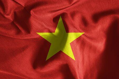 vietnam flag: Waving flag of Vietnam, Flag has real fabric texture