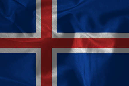 icelandic flag: Waving colorful Icelandic flag