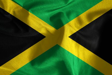 isles: Fabric texture of the flag of Jamaica