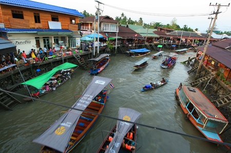 amphawa: Amphawa Thailand - March15 : Amphawa market canal,  the most famous of floating market and cultural tourist destination on March15, 2015 Bangkok, Thailand