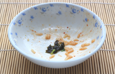 empty bowl: Bowl after eat and its dirty,Empty bowl Stock Photo