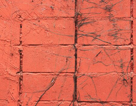 striated: red striated stucco wall texture Stock Photo
