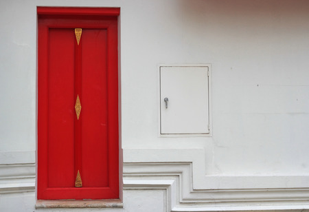 red door: Red Door on White Wall,