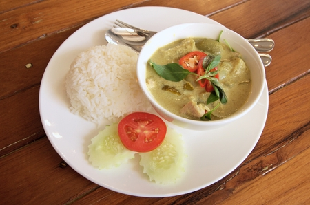 cystic: porkl green curry is Thai cuisine Stock Photo