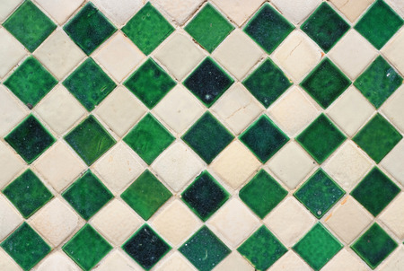 ���wall tiles���: Green and white wall tiles as a background image
