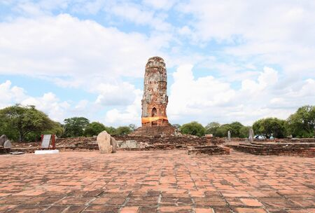 meters: AYUTTHAYA-THAILAND : 9 August 2015 This temple was burnt down by the war. Wat Lokayasuttaram in the past, Measure a length of 49.50 meters and wide of 20.10 meters and 30 meters high Buddha statue has been damaged, but all the rest just behind the church