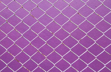 detain: Wire Mesh, iron wire fence on the wall purple background.