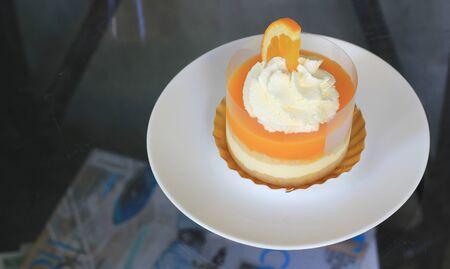 orange cake: orange cake in white plate