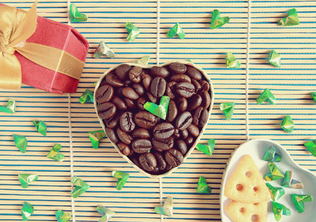 flavored: Coffee beans or Coffee Heart , can be used as a background
