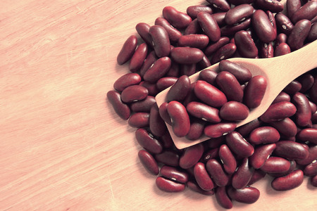 rajma: dried red beans on a wooden spoon