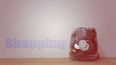 foresight: Jar with full of coins whit Vintage Style