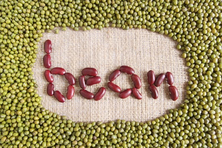 protein source: bean text made by group of beans and lentils Stock Photo