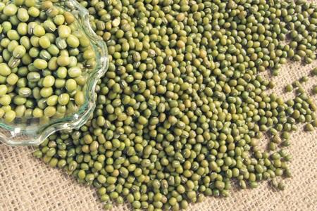 green bean: Green bean or mung bean in a glass, vintage mode