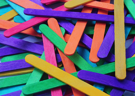 lumber room: Colorful wood ice-cream stick Stock Photo