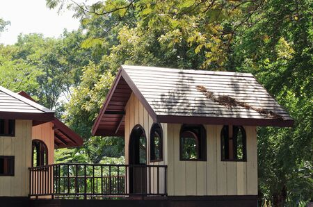 wooden houses: Wooden houses in the playground.