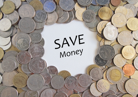 coin bank: Save Money words on Thai Baht or Coins texture for use background