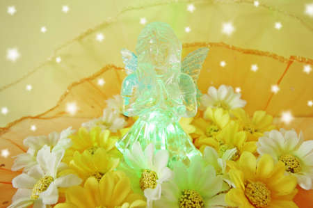 angel statue: Christmas concept with angel statue and color light.