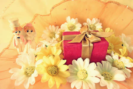 Wedding Day concept with gift box and flowers Stock Photo