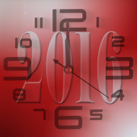chiming: 2016 New Year red background with clock