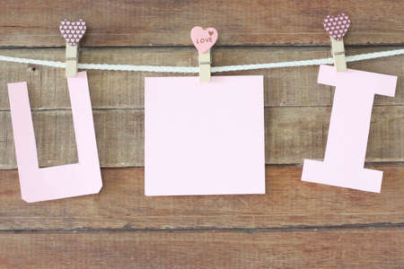 paper letters on wood background Stock Photo