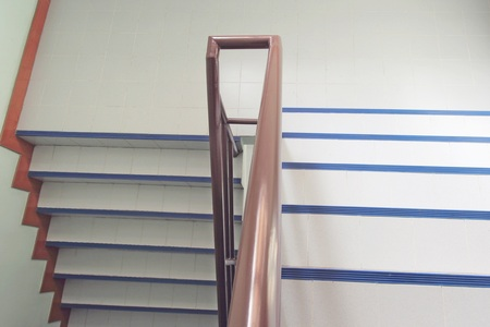 stainless: The Interior, staircase in house with brown metal banister