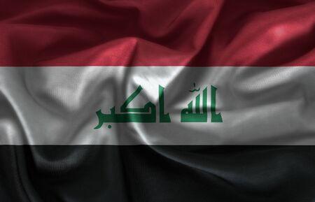 iraq flag: Iraq flag pattern on the fabric texture Stock Photo