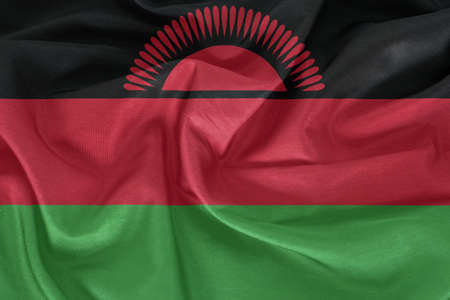 malawi flag: Malawi flag pattern on the fabric texture