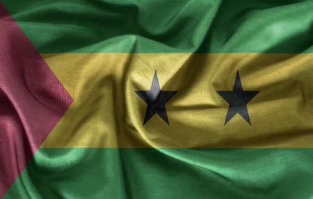 principe: Agitando la bandera de Sao Tome y Principe Foto de archivo