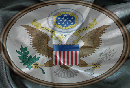 great seal: United States Great Seal, coat of arms or national emblem, on the fabric texture . Pictured here in Obverse side. Stock Photo