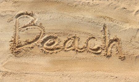 sand writing: Beach - sand writing on the beach