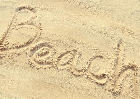 sand writing: Beach - sand writing on the beach, vintage style