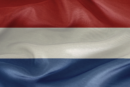 netherlands flag: Netherlands flag pattern on the fabric  texture