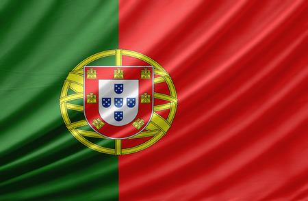 drapeau portugal: Agitant le drapeau du Portugal. Drapeau a une r�elle texture de tissu