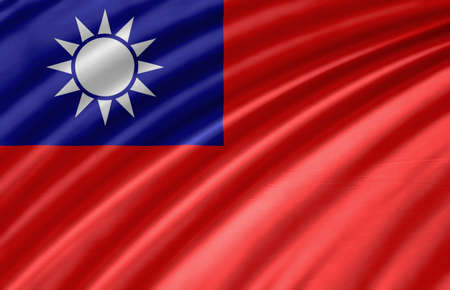 foreign country: Waving Fabric Flag of Taiwan Stock Photo