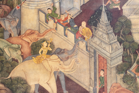 poems: BANGKOK -THAILAND : March 4 ,2016 Thai Mural Painting in sanctuary, Wat Pho Temple