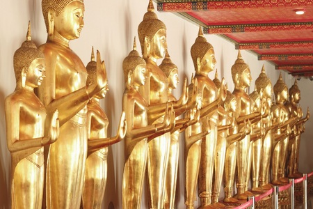 wat pho: Bangkok- Thailand : March 4, 2016  Gold Buddha statues at Wat Pho