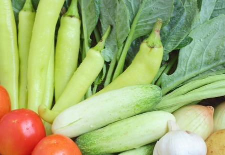 long beans: Healthy food background of vegetables