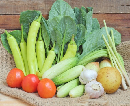 long beans: Healthy food background  vegetables background  vegetables on natural sackcloth texture Stock Photo