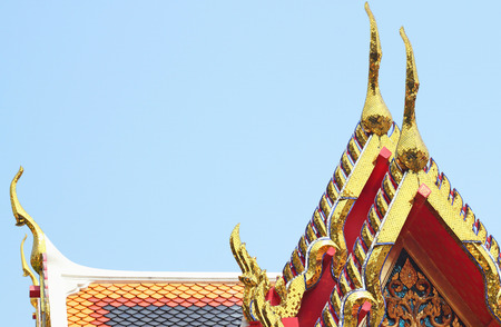 no name: gold of gable apex architecture in thailand temple. In Thailand public domain or treasure of Buddhism. no copyright and no name of artist appear.