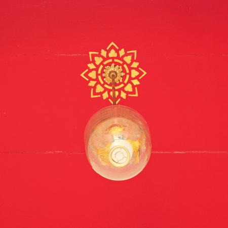 ceiling light: Thai ceiling light lamp on red background in thai temple , vintage style