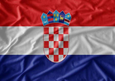 bandera croacia: patr�n de la bandera de Croacia en la textura de la tela