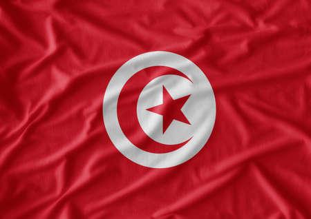 tunisia: Waving Fabric Flag of Tunisia