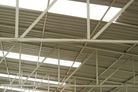 metal structure: carpark metal roof structure Stock Photo