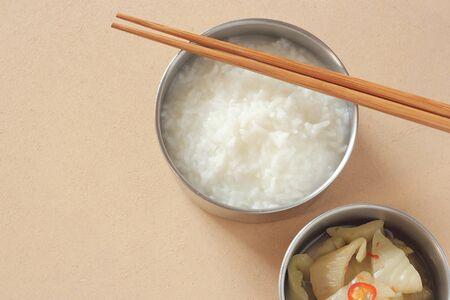 mush: mush or Boiled rice on wood table