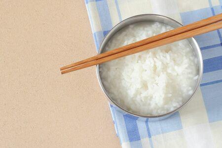 mush: mush or Boiled rice on Tablecloth Stock Photo