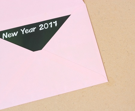 open envelope: Open envelope with Happy New Year 2017 card