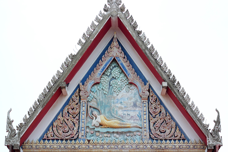 no name: Old floral, ceramic tile patterns of gable apex architecture in thailand temple. In Thailand public domain or treasure of Buddhism. no copyright and no name of artist appear. Stock Photo