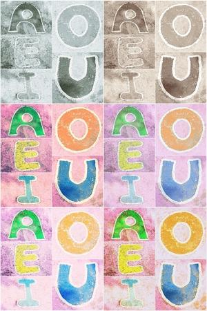 e u: old word  A, E, I, O, U  sign on cement background, style retro tone, abstract background