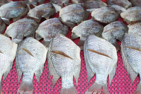 grocer: salted fish dry or Dried fish in Thailand of Asia Stock Photo