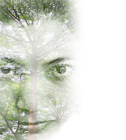 Creative double exposure portrait of woman combined with photograph of nature, vintage tone